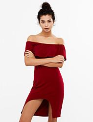 Moulante Robe Femme Soirée / Cocktail Sexy,Couleur Pleine Bateau Asymétrique Manches Courtes Bleu Rouge Noir Spandex Eté Taille Normale