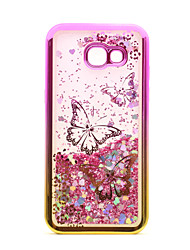 cheap -For Samsung Galaxy A3(2017) A5(2017) Case Cover Flowing Liquid Pattern Back Cover Case Glitter Shine Butterfly Soft TPU