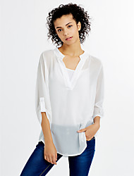 cheap -Women's V-Neck Chiffon Loose White Shirt