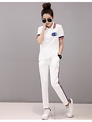 cheap -Women's Sport Summer Hoodie Pant Suits,Solid Round Neck Short Sleeve 100% Cotton