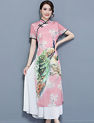 Women's Going out Vintage Swing Dress,Print Stand Maxi Short Sleeve Nylon Spring Summer Mid Rise Micro-elastic Medium