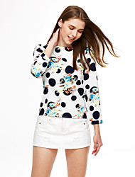 cheap -Women's Print Blue  White Blouse , Round Neck Long Sleeve