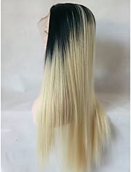cheap -Knafel wavy heat resistant fiber natural blonde ombre dark roots soft glueless long synthetic lace front wig