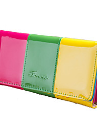 cheap -Women Bags PU Polyester Wallet Metallic for Shopping Casual Formal Outdoor Office & Career All Seasons Yellow Fuchsia Sky Blue Green Pink
