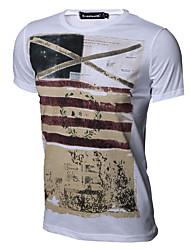 T-shirt Da uomo Altro Casual Vintage Per tutte le stagioni,Con stampe Rotonda Cotone Poliestere Manica corta Medio spessore