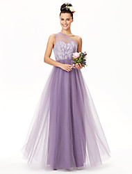 cheap -A-Line One Shoulder Floor Length Lace Tulle Bridesmaid Dress with Lace Sash / Ribbon Pleats by LAN TING BRIDE®
