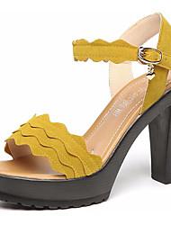 preiswerte -Damen Schuhe Kunststoff Sommer Pumps Sandalen Keilabsatz Peep Toe für Normal Schwarz Gelb Rot