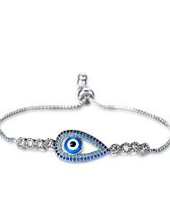 Lureme Lucky Blue Cubic Zirconia Evil Eye Pullstring Adjustable Bracelet
