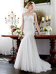 cheap -Mermaid / Trumpet Illusion Neckline Court Train Tulle Wedding Dress with Beading Appliques by LAN TING BRIDE®