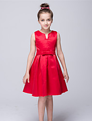 cheap -A-Line Knee Length Flower Girl Dress - Stretch Satin Sleeveless V-neck with Bow(s) by Baihe