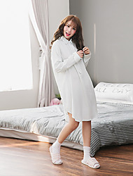 Women's Night Dress Stand Collar Long Sleeve Comfort Plaid Pajamas