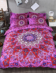 pink bohemian style printed cartoon queen size polyester and cotton bedding sets 4pcs bed sheet pillowcase duvet cover set