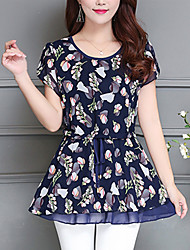 cheap -Women's Office / Career Other Casual Sexy Street chic Sophisticated Spring Summer Blouse,Floral Round Neck Short Sleeves Others Thin