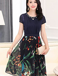Women's Going out Sexy A Line Dress,Solid Galaxy Round Neck Knee-length Short Sleeve Polyester Summer Mid Rise Micro-elastic Medium
