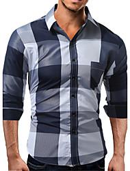 Недорогие -Для мужчин Повседневные Все сезоны Рубашка Рубашечный воротник,На каждый день Контрастных цветов Длинные рукава,Хлопок