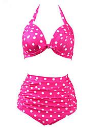 cheap -ZAY Women's Retro/High waist  Sexy Push-up High Waist Dot Print Halter Bikinis Set