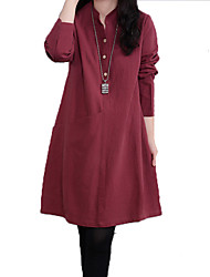 Women's Daily Going out Casual Sophisticated Sheath Dress,Solid Stand Above Knee Long Sleeves Rayon Polyester All Seasons High Rise