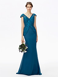 cheap -Mermaid / Trumpet V Neck Sweep / Brush Train Chiffon Metallic Lace Bridesmaid Dress with Lace by LAN TING BRIDE®