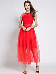 SUOQI Women Summer Dress Red Round Neck Sleeveless Lace Splice Gauze Maxi Slim Dresses