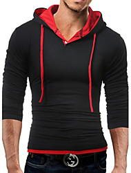 cheap -Men's Daily Casual Sports Casual T-shirt,Solid Hooded Long Sleeves 100%Cotton