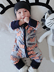 Baby Infants And Young Children Cotton Fashion Cartoon  Tiger Design Long Sleeve Clothing Jumpsuit Climb Clothes
