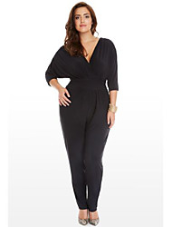 Women's Mid Rise Casual/Daily Jumpsuits,Pants Relaxed Loose Solid Color Spring Fall
