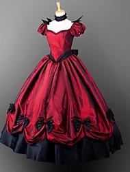 Victorien Gothique Costume Femme Fille Une Pièce Robes Costume de Soirée Bal Masqué Rouge Vintage Cosplay Manches courtes
