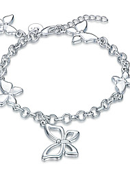 cheap -Women's Girls' Crystal Silver Plated Bowknot Chain Bracelet - Vintage Friendship Fashion Bowknot Silver Bracelet For Christmas Gifts