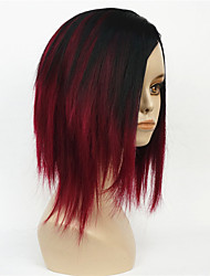 cheap -Women's Short Straight Bob wig Deep wine Mix Black Natural Synthetic Full Wig