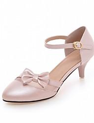Women's Heels Leatherette PU Summer Fall Walking Bowknot Stiletto Heel Gold White Blue Blushing Pink 2in-2 3/4in