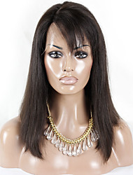 Short BoB Straight Hair with Bangs Brazilian Virgin Hair Lace Front Human Hair Wigs Remy Hair with Baby Hair for Black Women