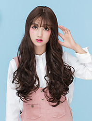 cheap -Cheap Women Synthetic Wigs Long Dark Chestnut Brown Grey Body Wave Middle Part With Bangs Halloween Lolita Wig