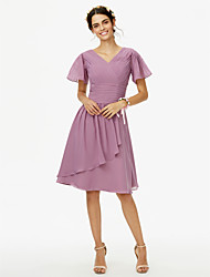 cheap -A-Line V Neck Knee Length Chiffon Bridesmaid Dress with Sash / Ribbon Ruched Criss Cross by LAN TING BRIDE®