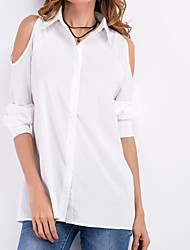 cheap -Women's Going out Vintage Spring Fall Shirt,Solid V Neck Long Sleeves Others Thin