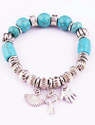 Women's Strand Bracelet Turquoise Friendship Fashion Bohemian Gothic Alloy Circle Hamsa Hand Jewelry For Wedding Anniversary Birthday
