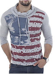 Men's Casual Vintage Spring Fall T-shirt,Patterned High Neck Long Sleeve Cotton Blend Medium