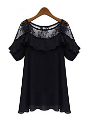 cheap -Women's Daily Going out Cute Sexy Sophisticated Blouse,Solid Patchwork Round Neck Short Sleeves Polyester