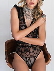 Недорогие -Жен. Винтаж Комбинезоны - Кружева Мода, С отверстиями Праздник Сексуальные платья Глубокий V-образный вырез