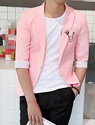 Men's Work Simple Summer Fall Blazer,Solid Peaked Lapel 1/2 Length Sleeve Regular Polyester