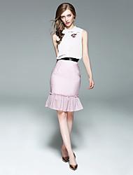 cheap -EWUS Women's Daily Summer Tank Top Skirt Suits,Striped Stand Sleeveless Flower Polyster Micro-elastic