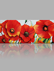 cheap -IARTS®Hand Painted Red Beautiful and Thriving Flowers Oil Painting with Stretched Frame For Home Decoration