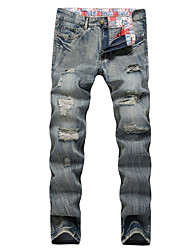 HOT! 28-42 Plus Size Men's High Elasticity Straight Ripped Denim Jeans Pants Street chic Active Simple Loose Slim Ripped Solid long trousers