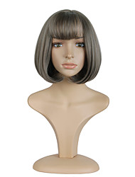 12inch  Grey Short Bobo Cosplay Full Wig High Temperature Synthetic Hair Wig