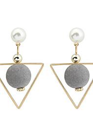 economico -Per donna Orecchini a goccia Perle finte Di tendenza Euramerican bigiotteria Rame Di forma geometrica Triangolare Gioielli Per Quotidiano