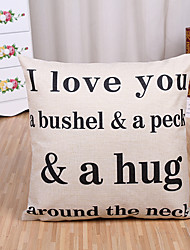 cheap -1 Pcs I Love You Letter Printing Pillow Cover Creative Cotton/Linen Pillow Case Sofa Cushion Cover