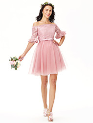 Princess Off-the-shoulder Short / Mini Lace Tulle Bridesmaid Dress with Sash / Ribbon Pleats by Yaying