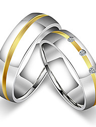cheap -Women's Couple's Couple Rings Ring Band Ring , Titanium Cubic Zirconia Titanium Steel Round Princess Classic Vintage Simple Style Wedding