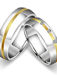 preiswerte -Damen Paar Eheringe Ring Bandring , Klassisch Retro Simple Style Kubikzirkonia Titanstahl Kreisförmig Prinzessin Modeschmuck Hochzeit