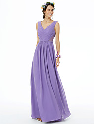 Sheath / Column V-neck Floor Length Chiffon Bridesmaid Dress with Lace Sash / Ribbon Pleats by LAN TING BRIDE®