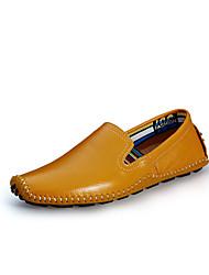 Men's Loafers & Slip-Ons Comfort Light Soles Leather Spring Summer Casual Flat Heel Pool Brown Yellow Beige Black Walking Shoes